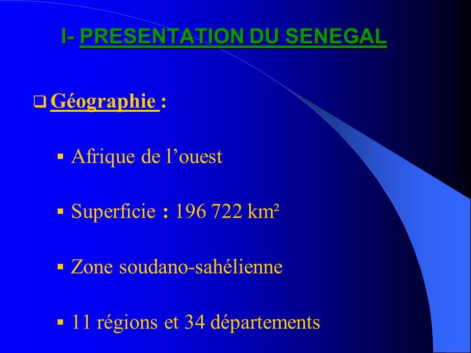 I- PRESENTATION DU SENEGAL Géographie : Afrique de louest Superficie : 196 722 km² Zone soudano-sahélienne 11 régions et 34 départements