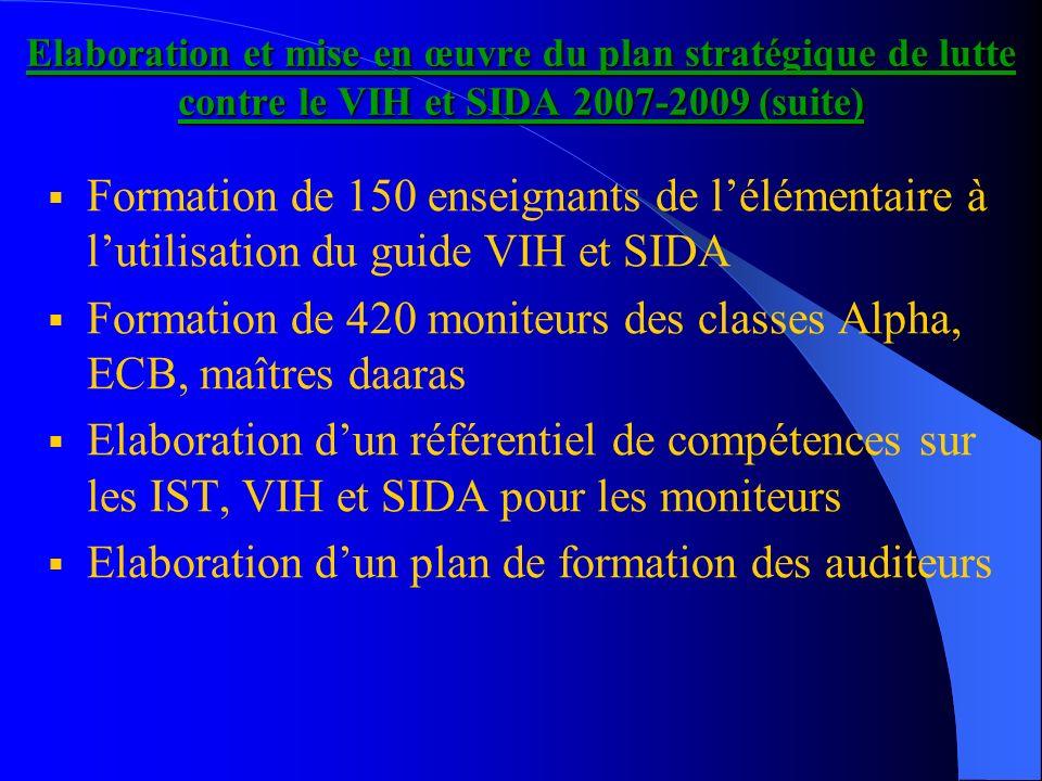 Elaboration et mise en œuvre du plan stratégique de lutte contre le VIH et SIDA 2007-2009 (suite) Formation de 150 enseignants de lélémentaire à lutil