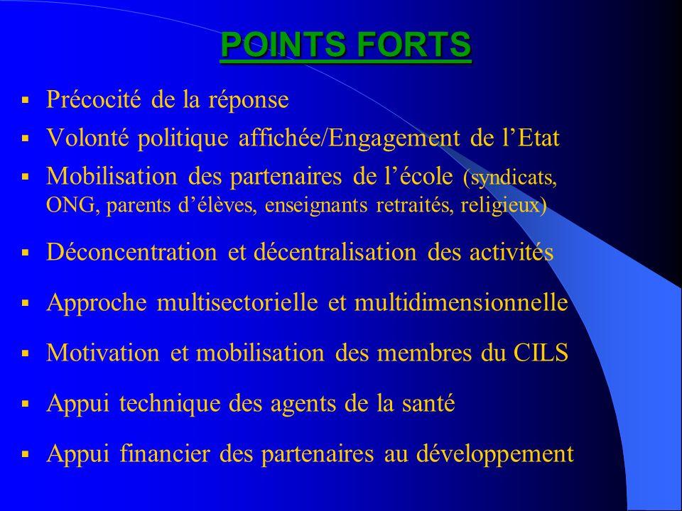 POINTS FORTS POINTS FORTS Précocité de la réponse Volonté politique affichée/Engagement de lEtat Mobilisation des partenaires de lécole (syndicats, ON