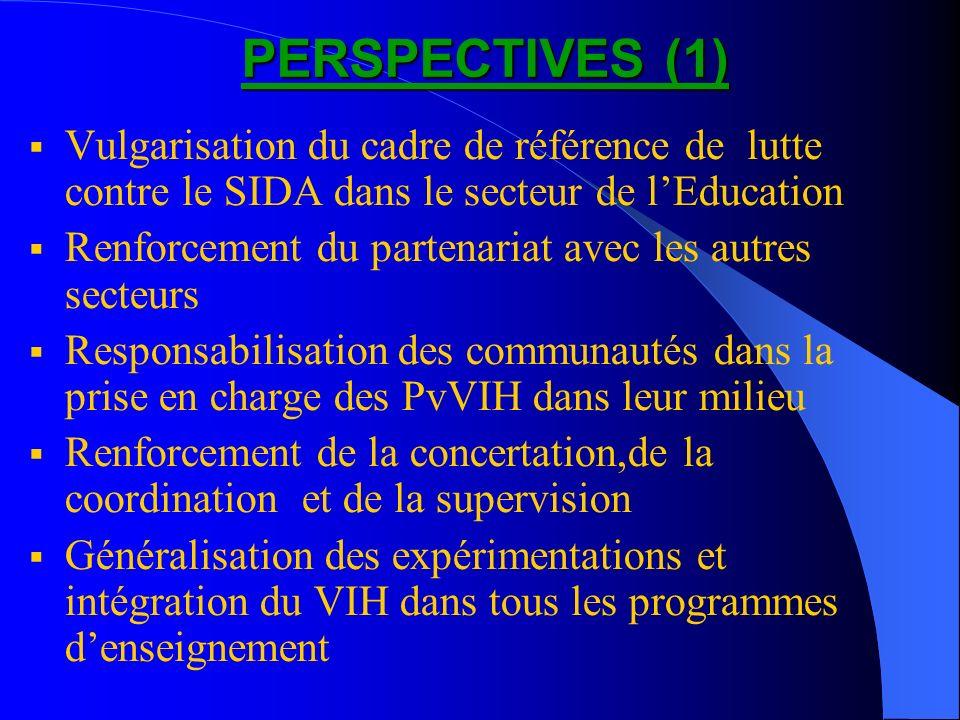 PERSPECTIVES (1) PERSPECTIVES (1) Vulgarisation du cadre de référence de lutte contre le SIDA dans le secteur de lEducation Renforcement du partenaria