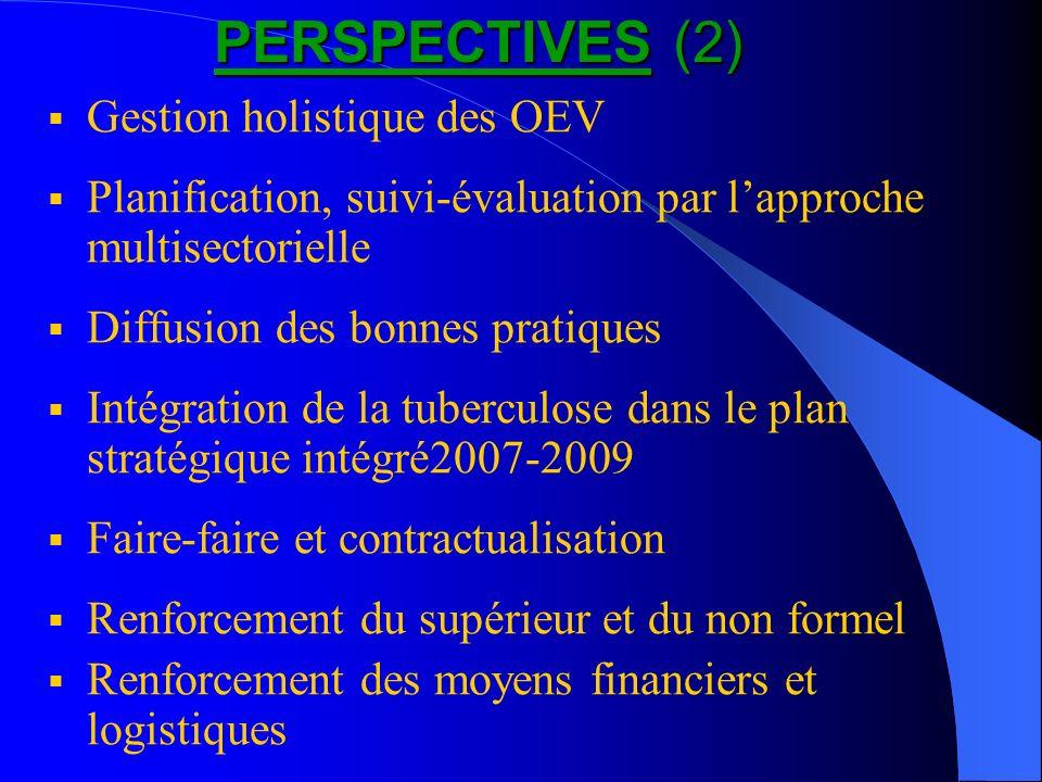 PERSPECTIVES (2) Gestion holistique des OEV Planification, suivi-évaluation par lapproche multisectorielle Diffusion des bonnes pratiques Intégration