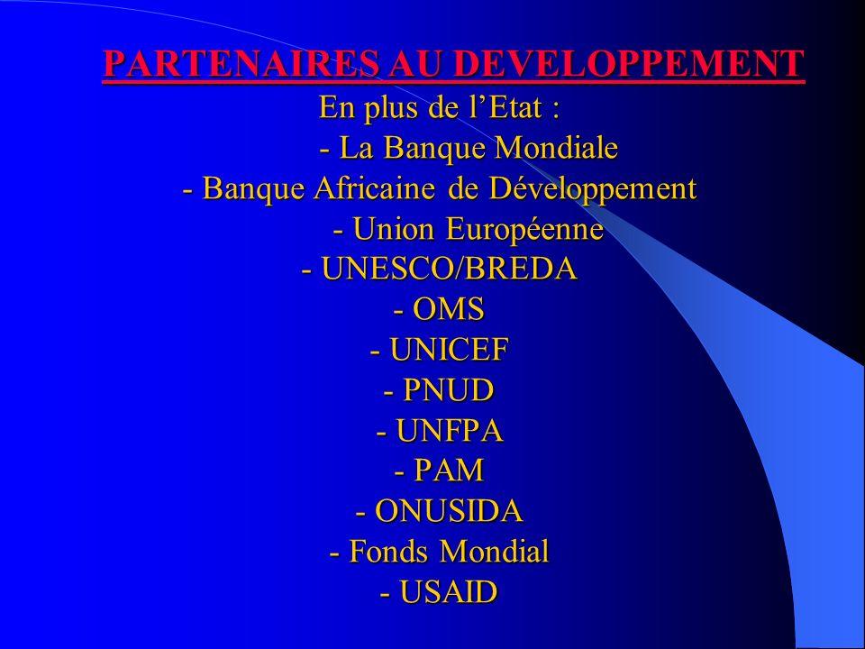 PARTENAIRES AU DEVELOPPEMENT En plus de lEtat : - La Banque Mondiale - Banque Africaine de Développement - Union Européenne - UNESCO/BREDA - OMS - UNICEF - PNUD - UNFPA - PAM - ONUSIDA - Fonds Mondial - USAID PARTENAIRES AU DEVELOPPEMENT En plus de lEtat : - La Banque Mondiale - Banque Africaine de Développement - Union Européenne - UNESCO/BREDA - OMS - UNICEF - PNUD - UNFPA - PAM - ONUSIDA - Fonds Mondial - USAID