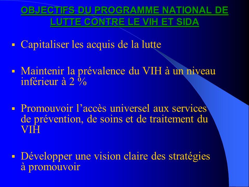 OBJECTIFS DU PROGRAMME NATIONAL DE LUTTE CONTRE LE VIH ET SIDA Capitaliser les acquis de la lutte Maintenir la prévalence du VIH à un niveau inférieur à 2 % Promouvoir laccès universel aux services de prévention, de soins et de traitement du VIH Développer une vision claire des stratégies à promouvoir