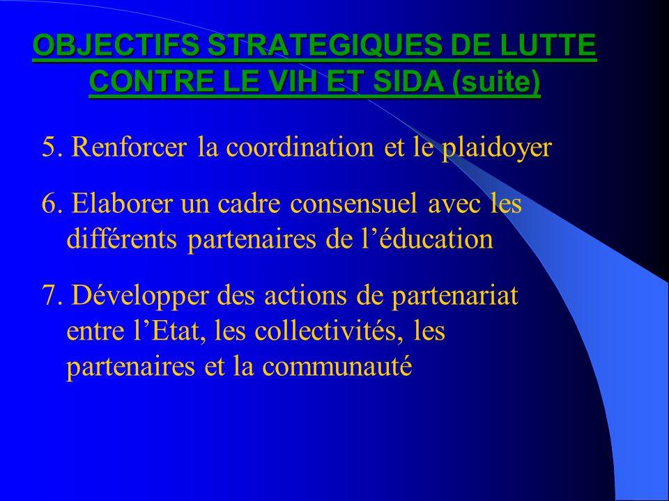 OBJECTIFS STRATEGIQUES DE LUTTE CONTRE LE VIH ET SIDA (suite) 5. Renforcer la coordination et le plaidoyer 6. Elaborer un cadre consensuel avec les di