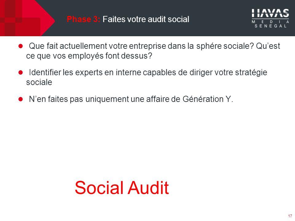 Phase 3: Faites votre audit social 17 Social Audit Que fait actuellement votre entreprise dans la sphére sociale.