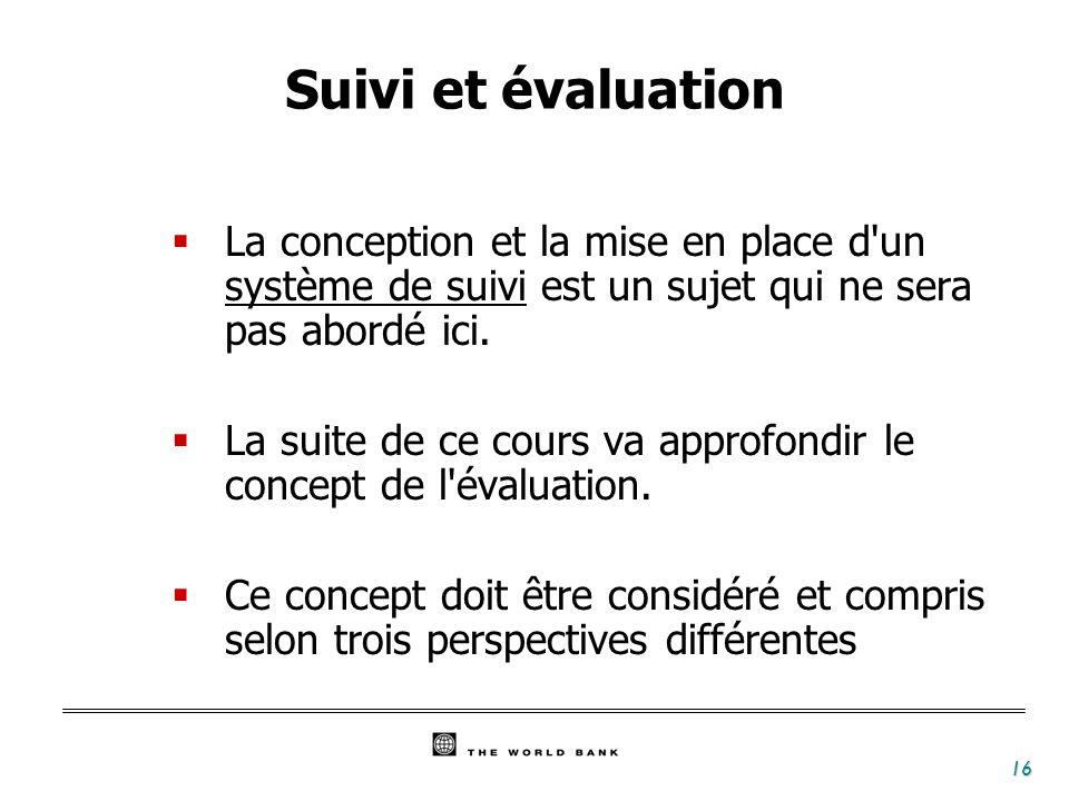 16 Suivi et évaluation La conception et la mise en place d'un système de suivi est un sujet qui ne sera pas abordé ici. La suite de ce cours va approf