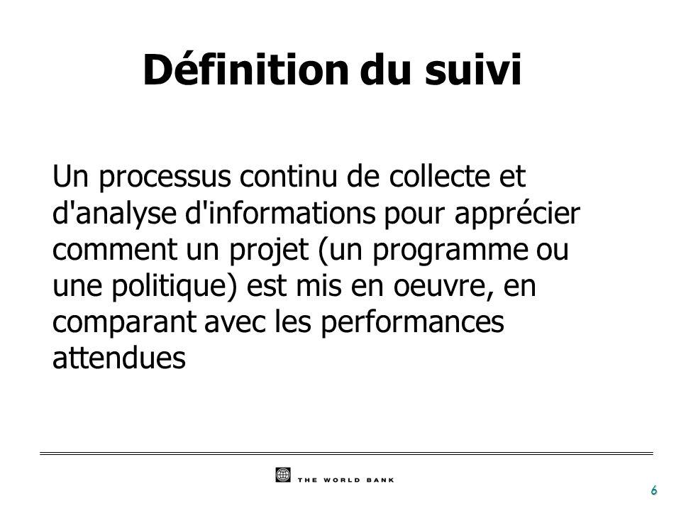6 Définition du suivi Un processus continu de collecte et d'analyse d'informations pour apprécier comment un projet (un programme ou une politique) es