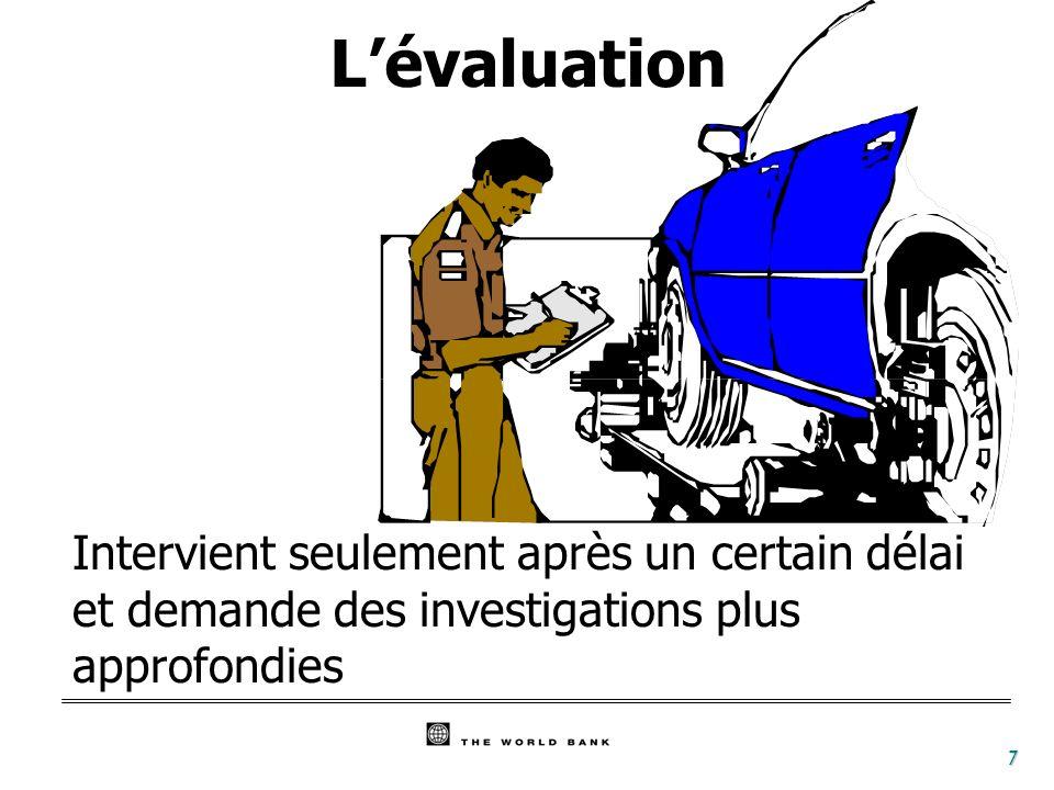 7 Lévaluation Intervient seulement après un certain délai et demande des investigations plus approfondies