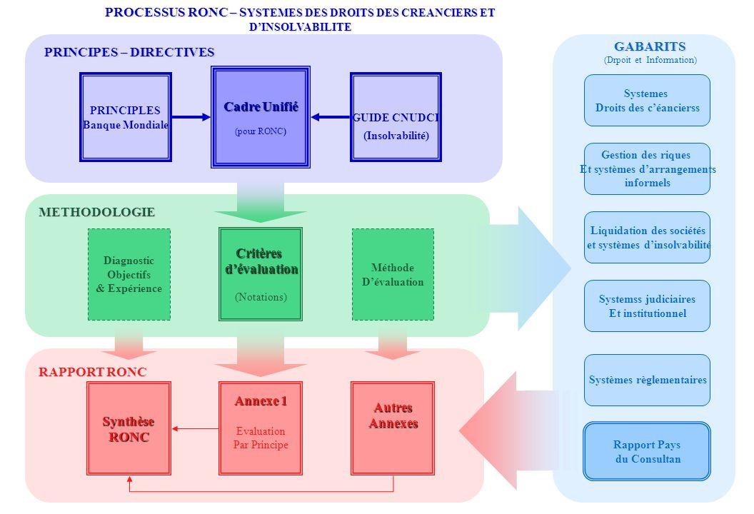 PRINCIPLES Banque Mondiale Critèresdévaluation (Notations) SynthèseRONC Annexe 1 Evaluation Par PrincipeAutresAnnexes GABARITS (Drpoit et Information)