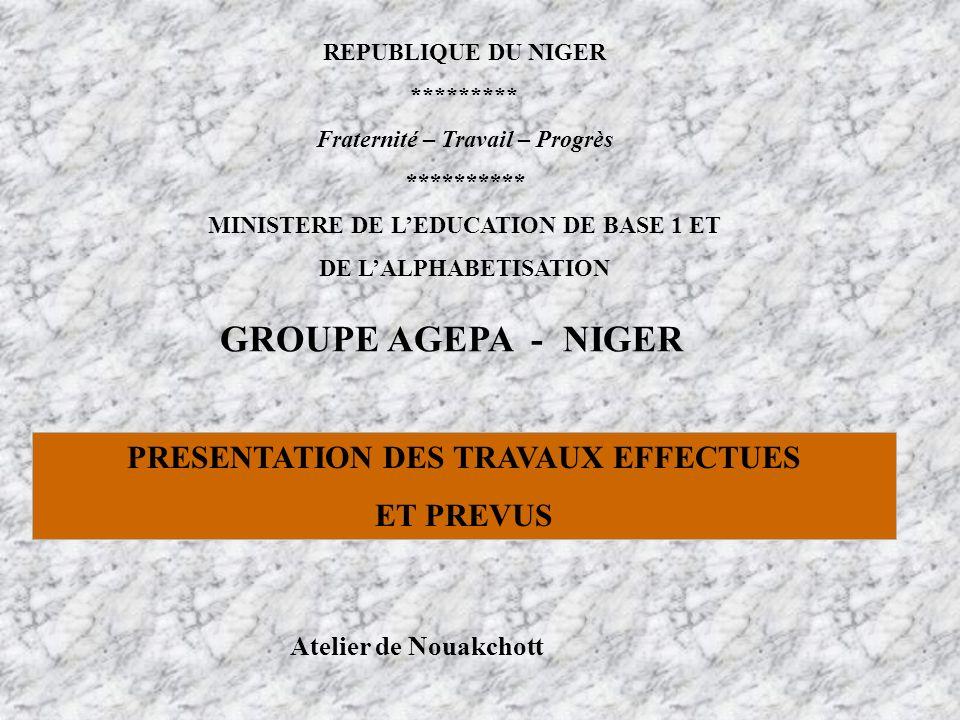 REPUBLIQUE DU NIGER ********* Fraternité – Travail – Progrès ********** MINISTERE DE LEDUCATION DE BASE 1 ET DE LALPHABETISATION GROUPE AGEPA - NIGER