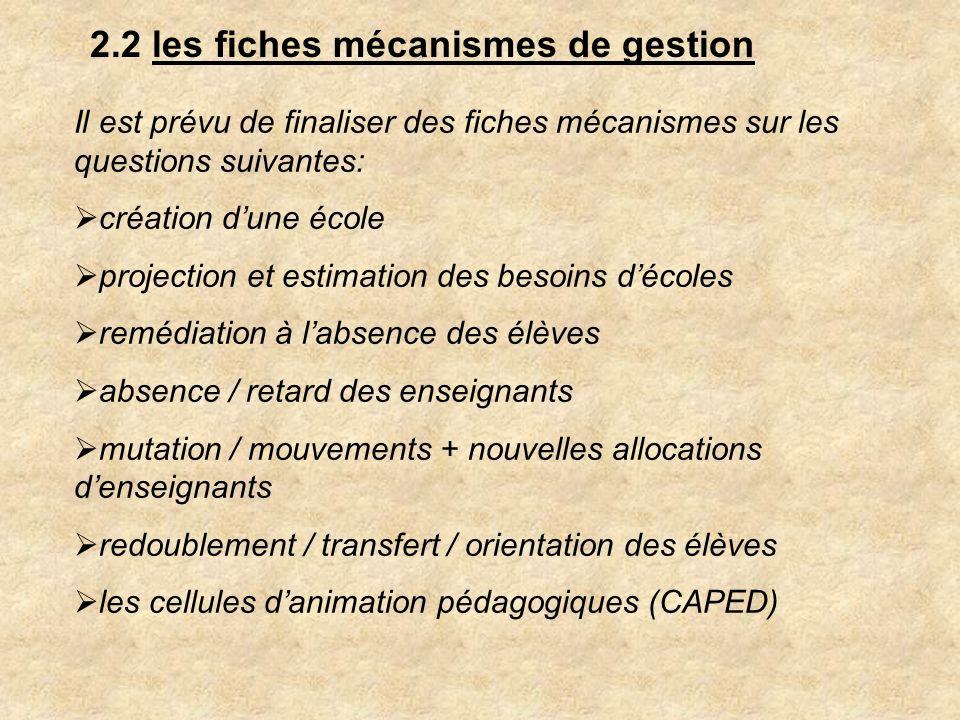 2.2 les fiches mécanismes de gestion Il est prévu de finaliser des fiches mécanismes sur les questions suivantes: création dune école projection et es