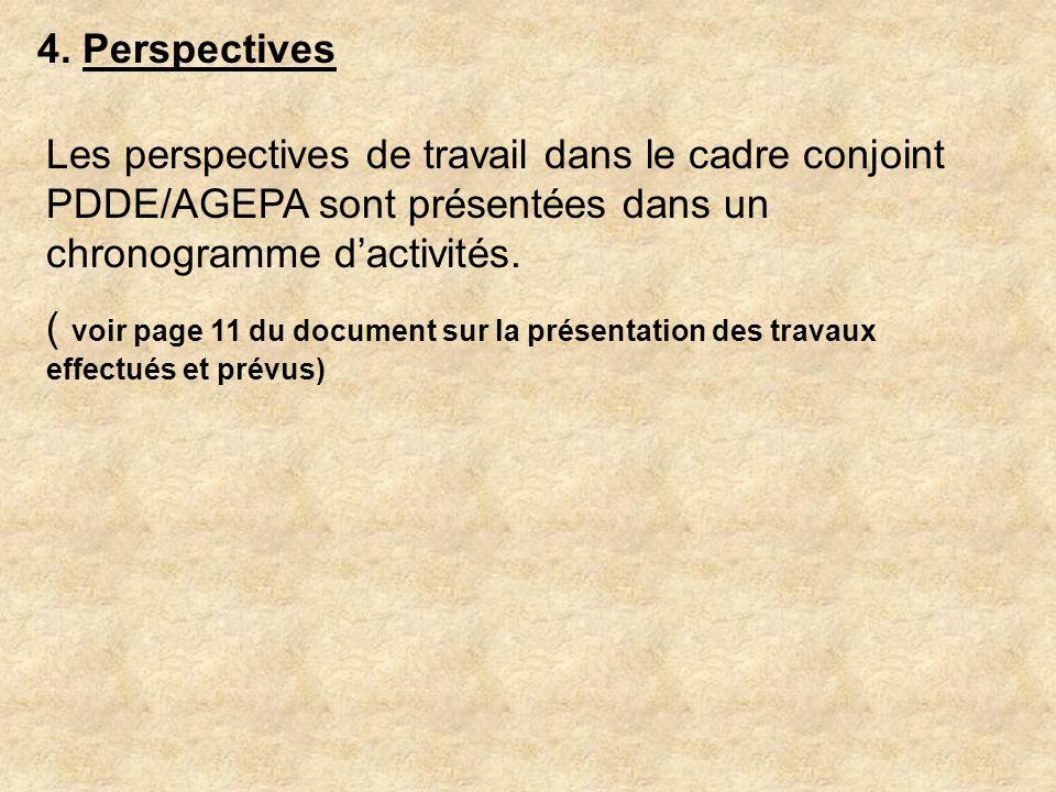 4. Perspectives Les perspectives de travail dans le cadre conjoint PDDE/AGEPA sont présentées dans un chronogramme dactivités. ( voir page 11 du docum