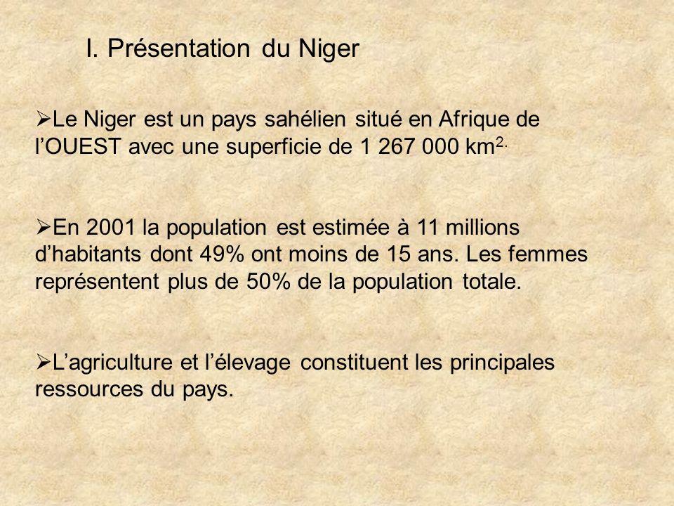 I. Présentation du Niger Le Niger est un pays sahélien situé en Afrique de lOUEST avec une superficie de 1 267 000 km 2. En 2001 la population est est