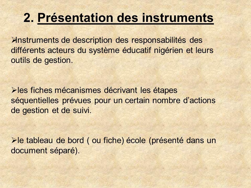 2. Présentation des instruments Instruments de description des responsabilités des différents acteurs du système éducatif nigérien et leurs outils de