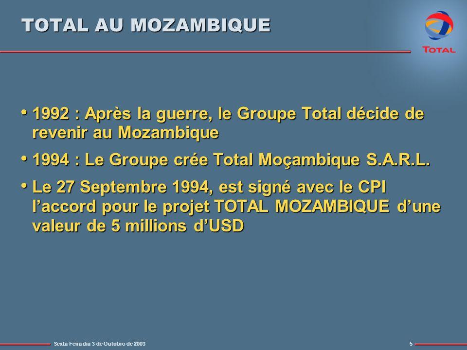 Sexta Feira dia 3 de Outubro de 20035 TOTAL AU MOZAMBIQUE 1992 : Après la guerre, le Groupe Total décide de revenir au Mozambique 1992 : Après la guerre, le Groupe Total décide de revenir au Mozambique 1994 : Le Groupe crée Total Moçambique S.A.R.L.
