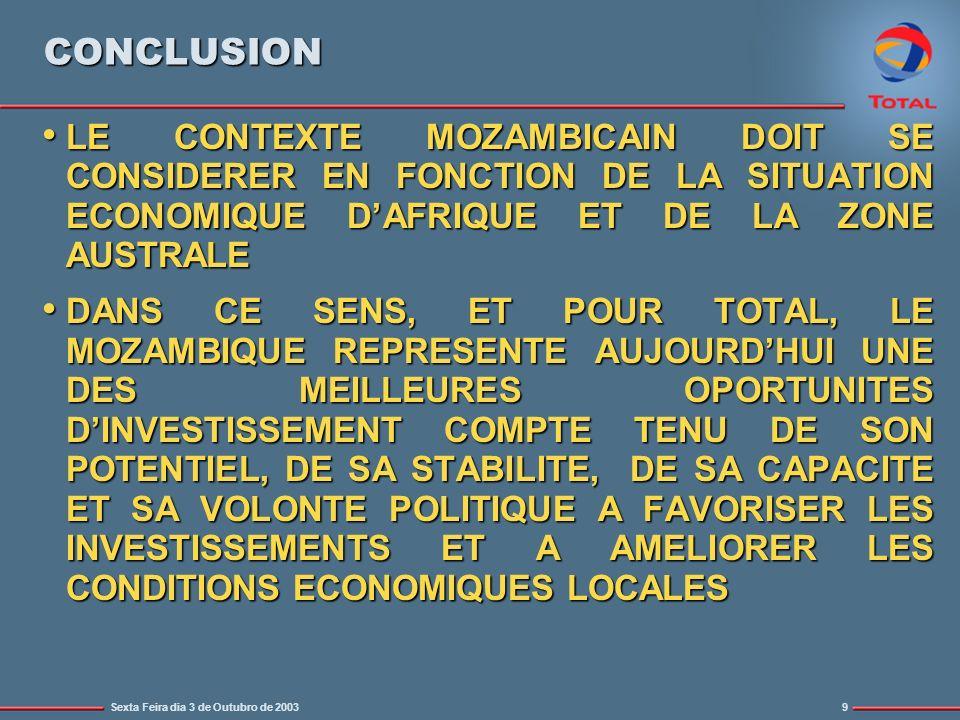 Sexta Feira dia 3 de Outubro de 20039 CONCLUSION LE CONTEXTE MOZAMBICAIN DOIT SE CONSIDERER EN FONCTION DE LA SITUATION ECONOMIQUE DAFRIQUE ET DE LA ZONE AUSTRALE LE CONTEXTE MOZAMBICAIN DOIT SE CONSIDERER EN FONCTION DE LA SITUATION ECONOMIQUE DAFRIQUE ET DE LA ZONE AUSTRALE DANS CE SENS, ET POUR TOTAL, LE MOZAMBIQUE REPRESENTE AUJOURDHUI UNE DES MEILLEURES OPORTUNITES DINVESTISSEMENT COMPTE TENU DE SON POTENTIEL, DE SA STABILITE, DE SA CAPACITE ET SA VOLONTE POLITIQUE A FAVORISER LES INVESTISSEMENTS ET A AMELIORER LES CONDITIONS ECONOMIQUES LOCALES DANS CE SENS, ET POUR TOTAL, LE MOZAMBIQUE REPRESENTE AUJOURDHUI UNE DES MEILLEURES OPORTUNITES DINVESTISSEMENT COMPTE TENU DE SON POTENTIEL, DE SA STABILITE, DE SA CAPACITE ET SA VOLONTE POLITIQUE A FAVORISER LES INVESTISSEMENTS ET A AMELIORER LES CONDITIONS ECONOMIQUES LOCALES