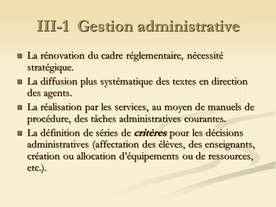 III-1 Gestion administrative La rénovation du cadre réglementaire, nécessité stratégique. La rénovation du cadre réglementaire, nécessité stratégique.