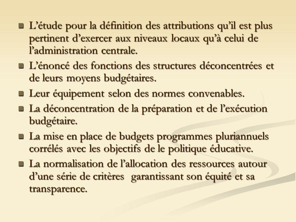 Létude pour la définition des attributions quil est plus pertinent dexercer aux niveaux locaux quà celui de ladministration centrale. Létude pour la d