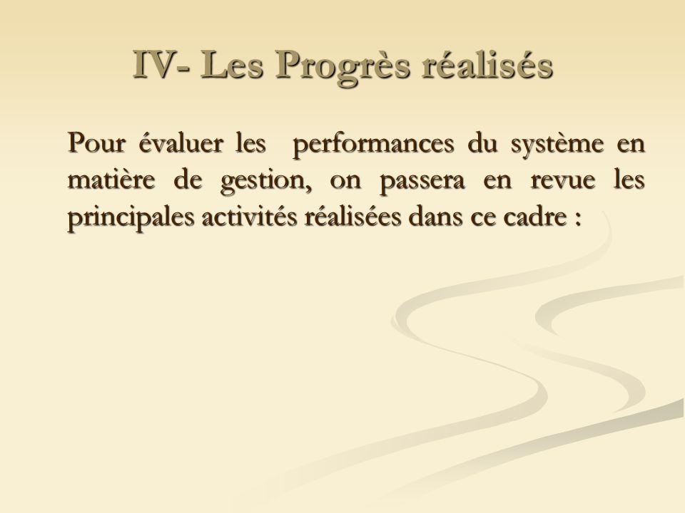 IV- Les Progrès réalisés Pour évaluer les performances du système en matière de gestion, on passera en revue les principales activités réalisées dans