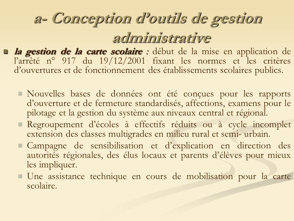 a- Conception doutils de gestion administrative la gestion de la carte scolaire : la gestion de la carte scolaire : début de la mise en application de