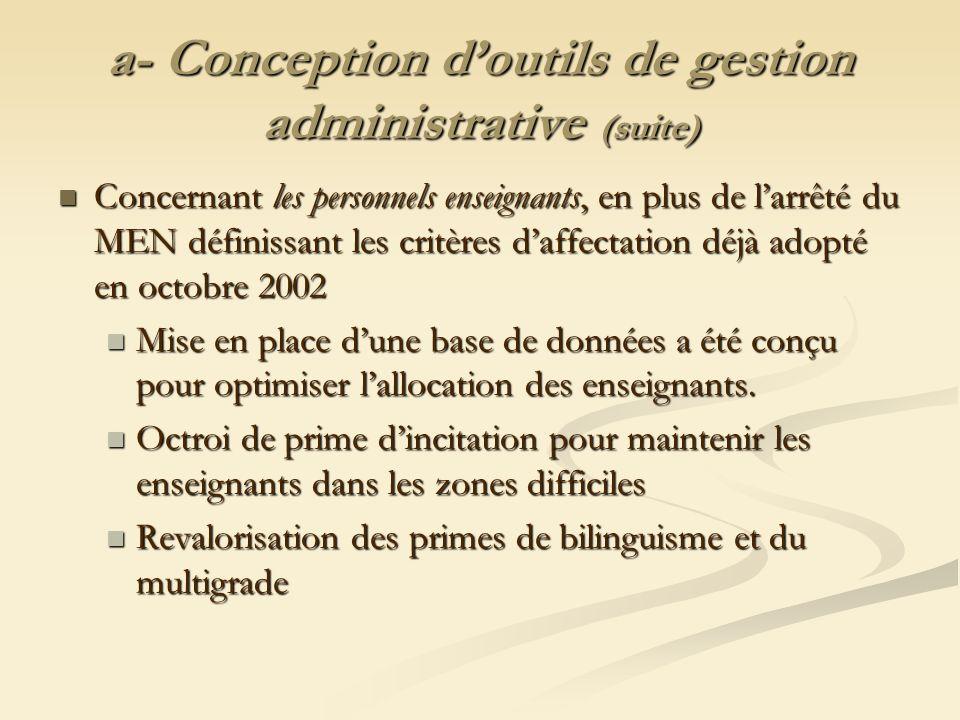 a- Conception doutils de gestion administrative (suite) Concernant les personnels enseignants, en plus de larrêté du MEN définissant les critères daff