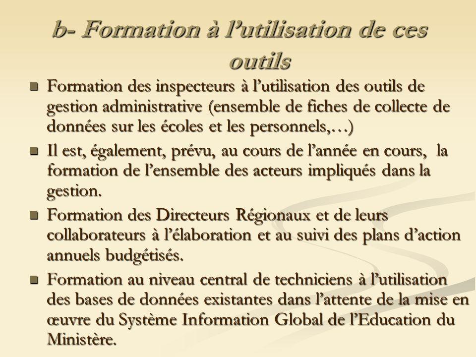 b- Formation à lutilisation de ces outils Formation des inspecteurs à lutilisation des outils de gestion administrative (ensemble de fiches de collect
