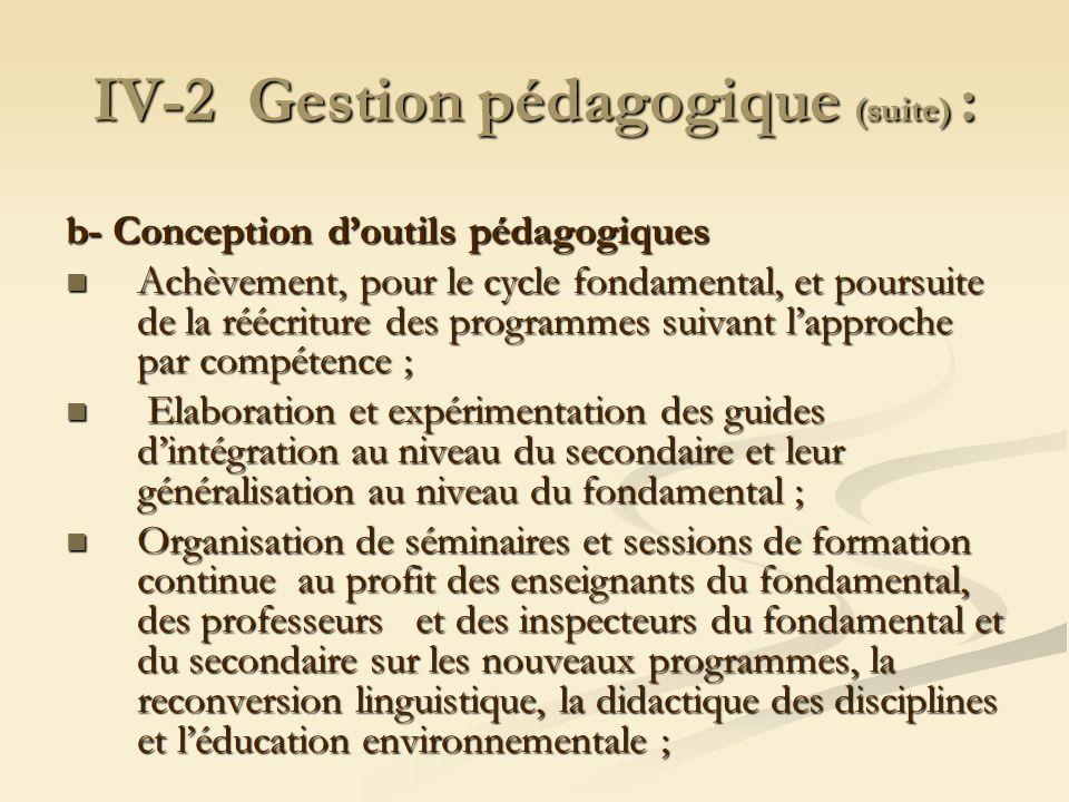 IV-2 Gestion pédagogique (suite) : b- Conception doutils pédagogiques Achèvement, pour le cycle fondamental, et poursuite de la réécriture des program