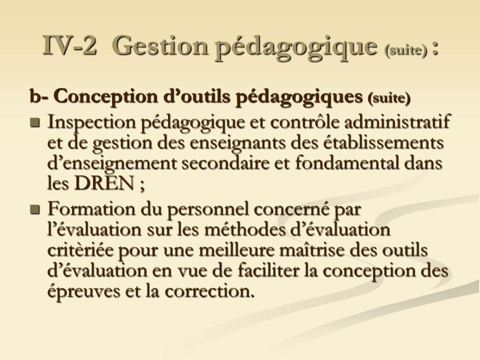 IV-2 Gestion pédagogique (suite) : b- Conception doutils pédagogiques (suite) Inspection pédagogique et contrôle administratif et de gestion des ensei