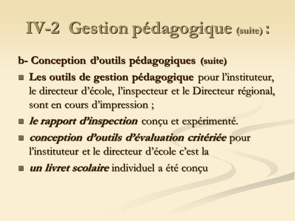 IV-2 Gestion pédagogique (suite) : b- Conception doutils pédagogiques (suite) Les outils de gestion pédagogique pour linstituteur, le directeur décole