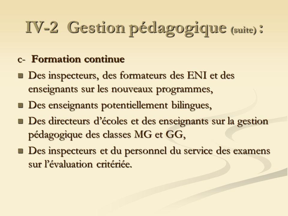 IV-2 Gestion pédagogique (suite) : c- Formation continue Des inspecteurs, des formateurs des ENI et des enseignants sur les nouveaux programmes, Des i