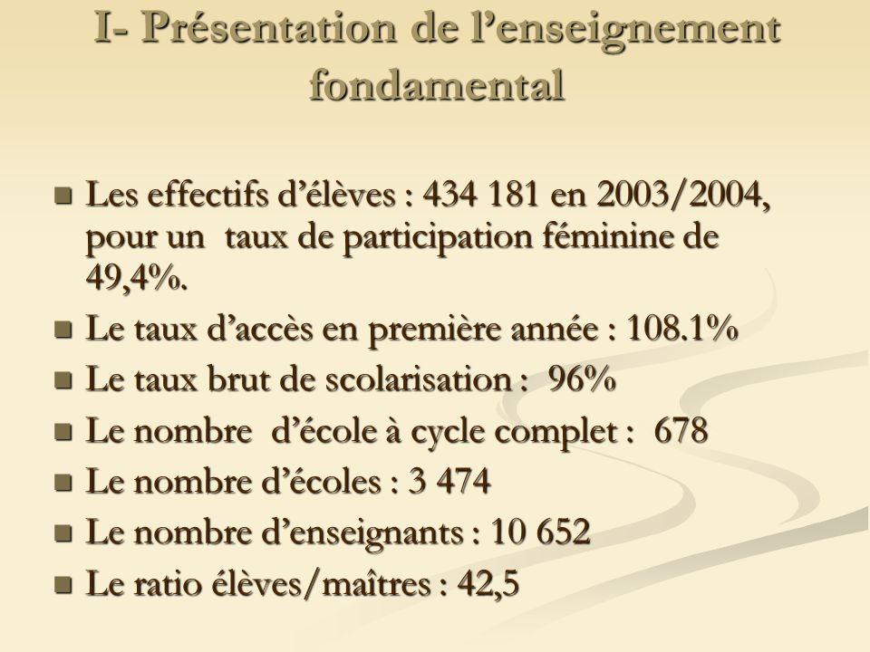 I- Présentation de lenseignement fondamental Les effectifs délèves : 434 181 en 2003/2004, pour un taux de participation féminine de 49,4%. Les effect