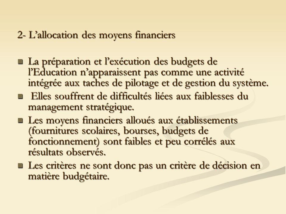 2- Lallocation des moyens financiers La préparation et lexécution des budgets de lEducation napparaissent pas comme une activité intégrée aux taches d