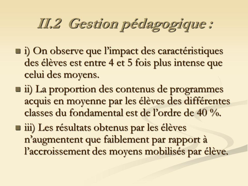 II.2 Gestion pédagogique : i) On observe que limpact des caractéristiques des élèves est entre 4 et 5 fois plus intense que celui des moyens. i) On ob