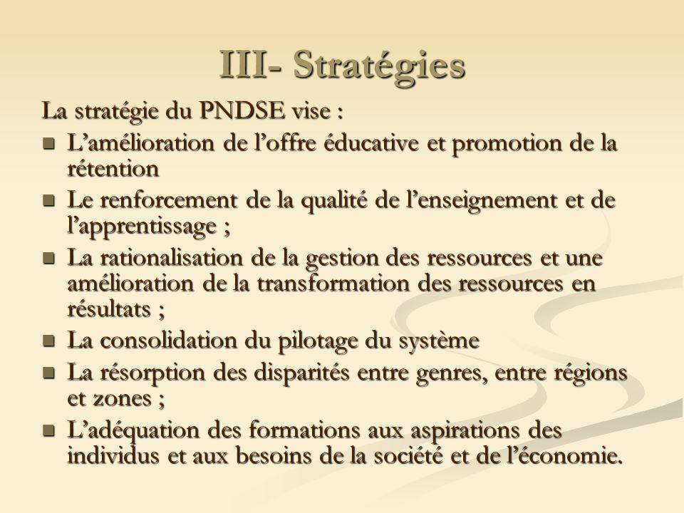 III- Stratégies La stratégie du PNDSE vise : Lamélioration de loffre éducative et promotion de la rétention Lamélioration de loffre éducative et promo