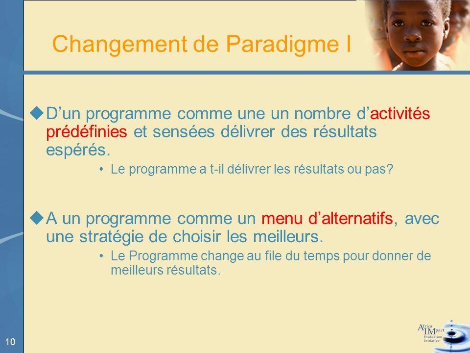 10 Changement de Paradigme I Dun programme comme une un nombre dactivités prédéfinies et sensées délivrer des résultats espérés.