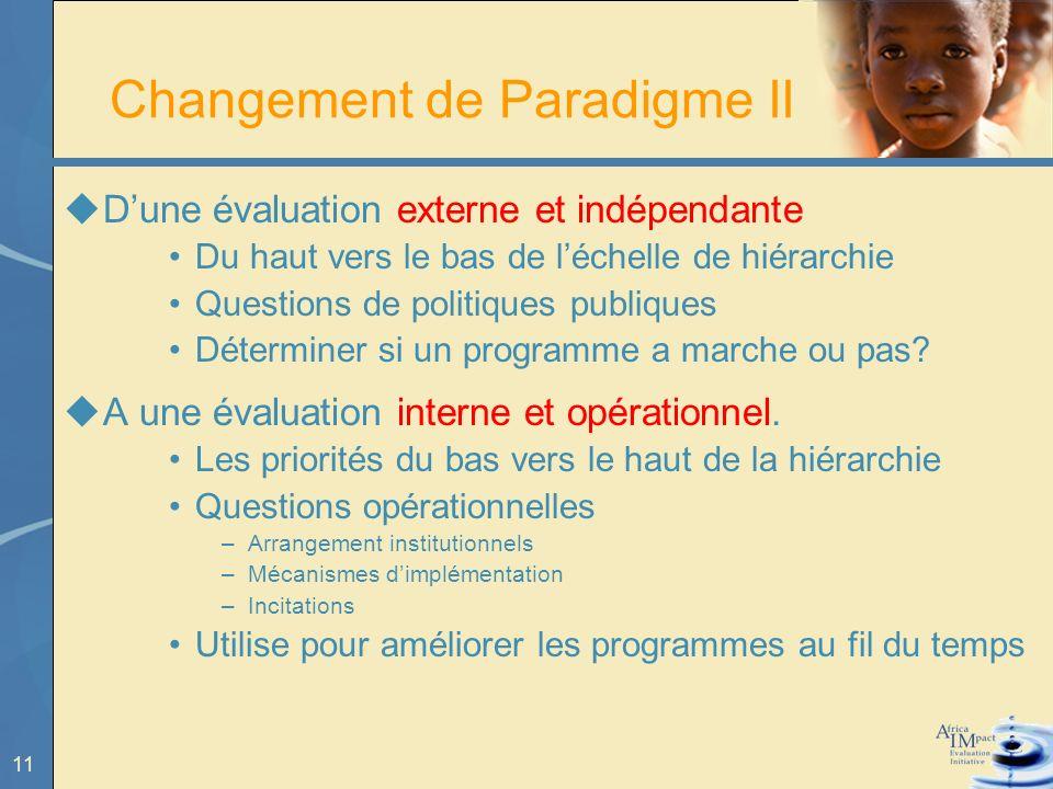 11 Changement de Paradigme II Dune évaluation externe et indépendante Du haut vers le bas de léchelle de hiérarchie Questions de politiques publiques Déterminer si un programme a marche ou pas.