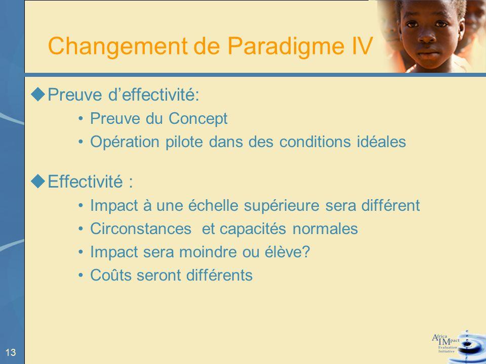 13 Changement de Paradigme IV Preuve deffectivité: Preuve du Concept Opération pilote dans des conditions idéales Effectivité : Impact à une échelle supérieure sera différent Circonstances et capacités normales Impact sera moindre ou élève.