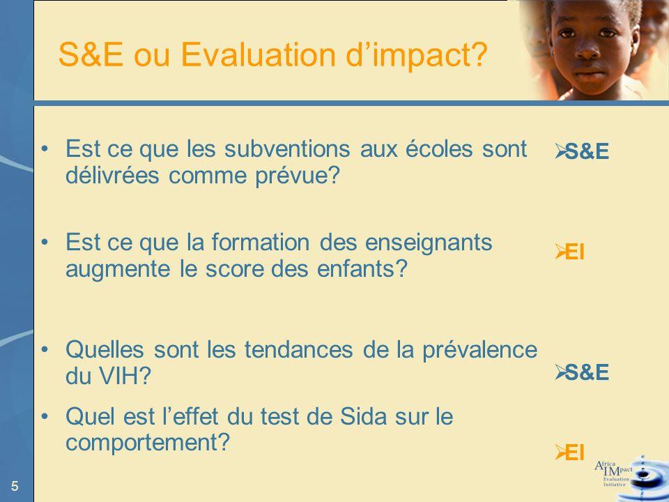 5 S&E ou Evaluation dimpact. Est ce que les subventions aux écoles sont délivrées comme prévue.