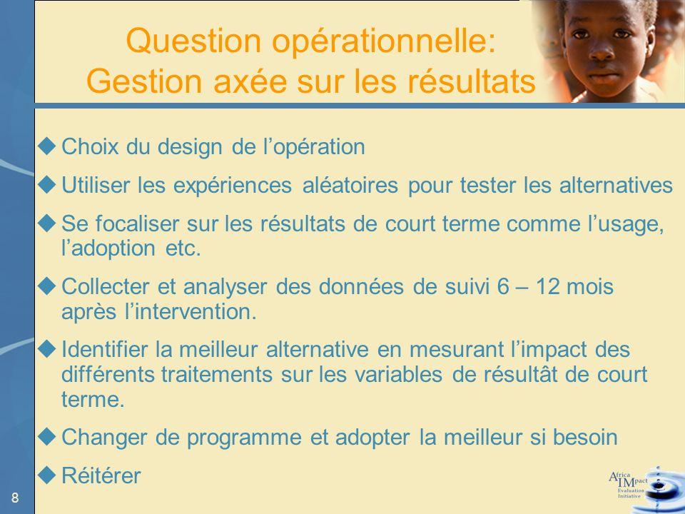 8 Question opérationnelle: Gestion axée sur les résultats Choix du design de lopération Utiliser les expériences aléatoires pour tester les alternatives Se focaliser sur les résultats de court terme comme lusage, ladoption etc.