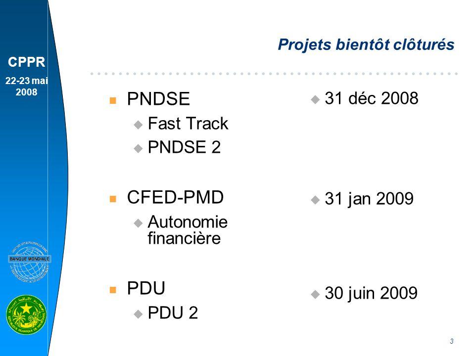 CPPR 22-23 mai 2008 4 Revues à mi-parcours n PDRC n PASN n PDIAIM 2 n PRECASP u Février 2008 u Mars 2008 u Avril 2008 u Sept 2008