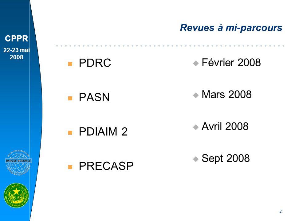 CPPR 22-23 mai 2008 5 Projets en préparation n Mai 2008 : Secteur privé u 10 M$ n Juil.