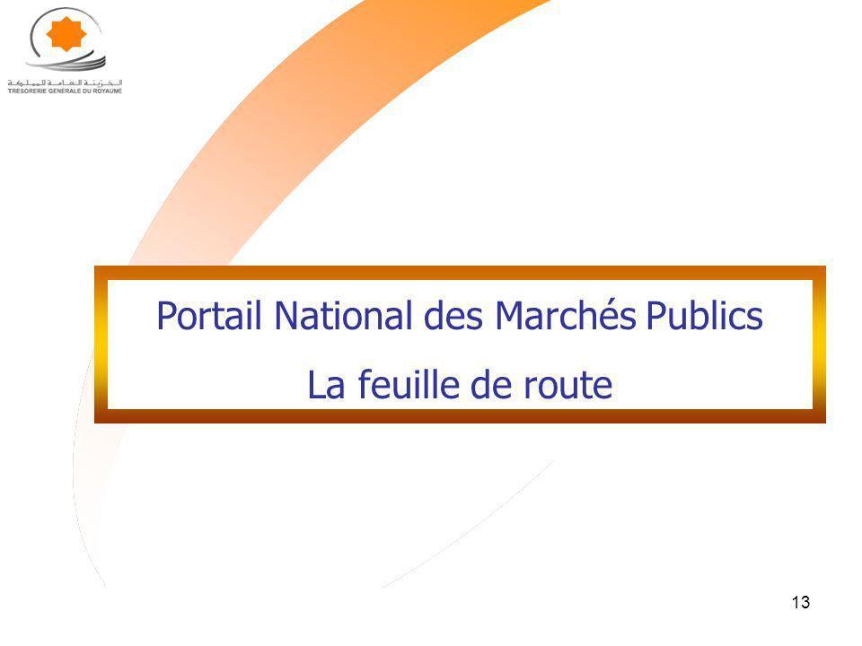13 Portail National des Marchés Publics La feuille de route