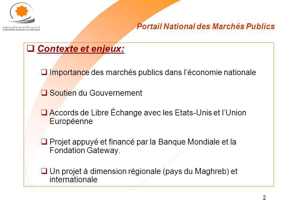 2 Portail National des Marchés Publics Contexte et enjeux: Importance des marchés publics dans léconomie nationale Soutien du Gouvernement Accords de