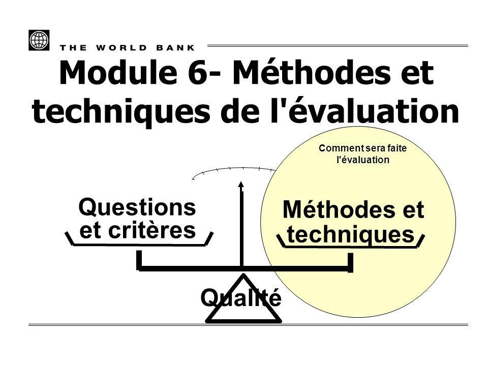 Module 6- Méthodes et techniques de l évaluation et critères Questions Qualité Comment sera faite l évaluation Méthodes et techniques