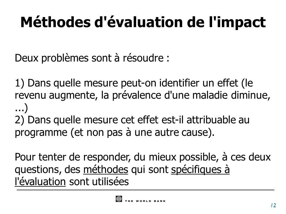 12 Deux problèmes sont à résoudre : 1) Dans quelle mesure peut-on identifier un effet (le revenu augmente, la prévalence d'une maladie diminue,...) 2)