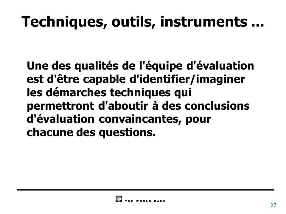 27 Techniques, outils, instruments... Une des qualités de l'équipe d'évaluation est d'être capable d'identifier/imaginer les démarches techniques qui