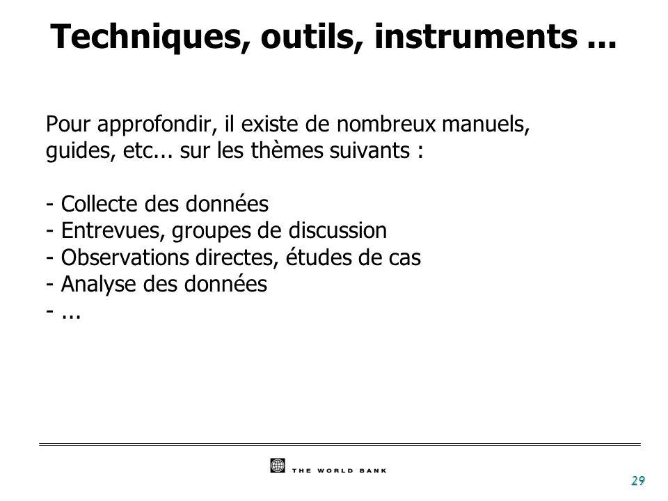 29 Techniques, outils, instruments... Pour approfondir, il existe de nombreux manuels, guides, etc... sur les thèmes suivants : - Collecte des données