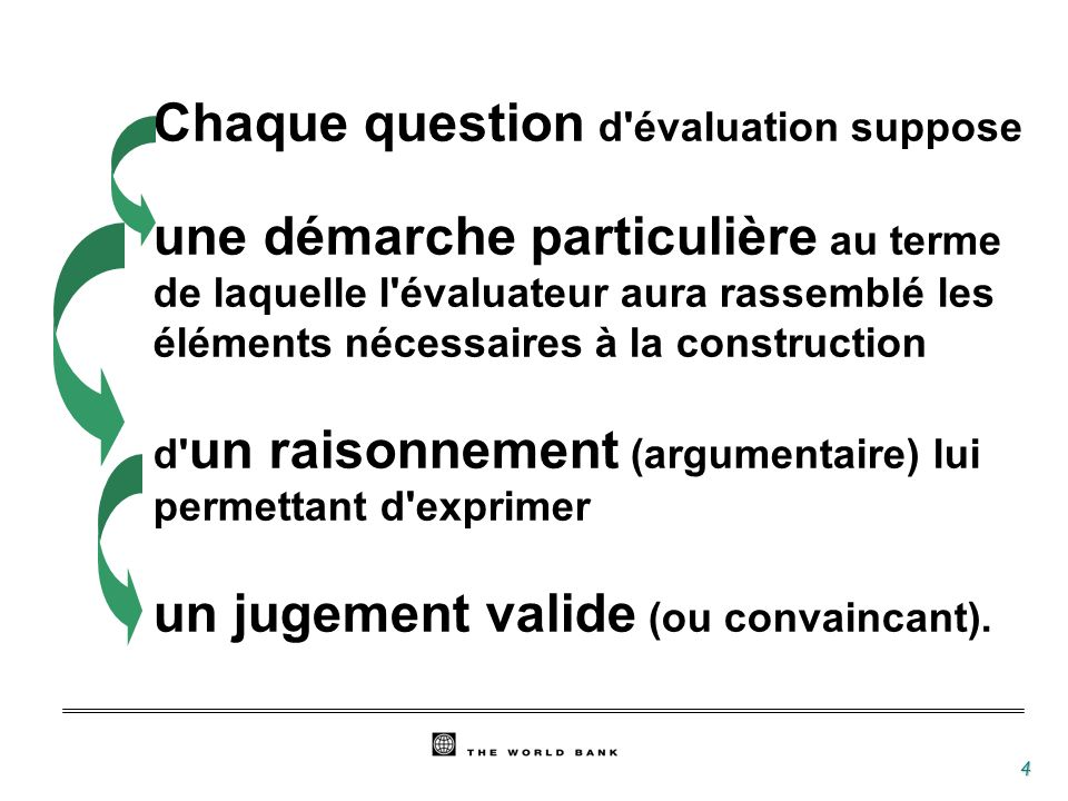 4 Chaque question d évaluation suppose une démarche particulière au terme de laquelle l évaluateur aura rassemblé les éléments nécessaires à la construction d un raisonnement (argumentaire) lui permettant d exprimer un jugement valide (ou convaincant).