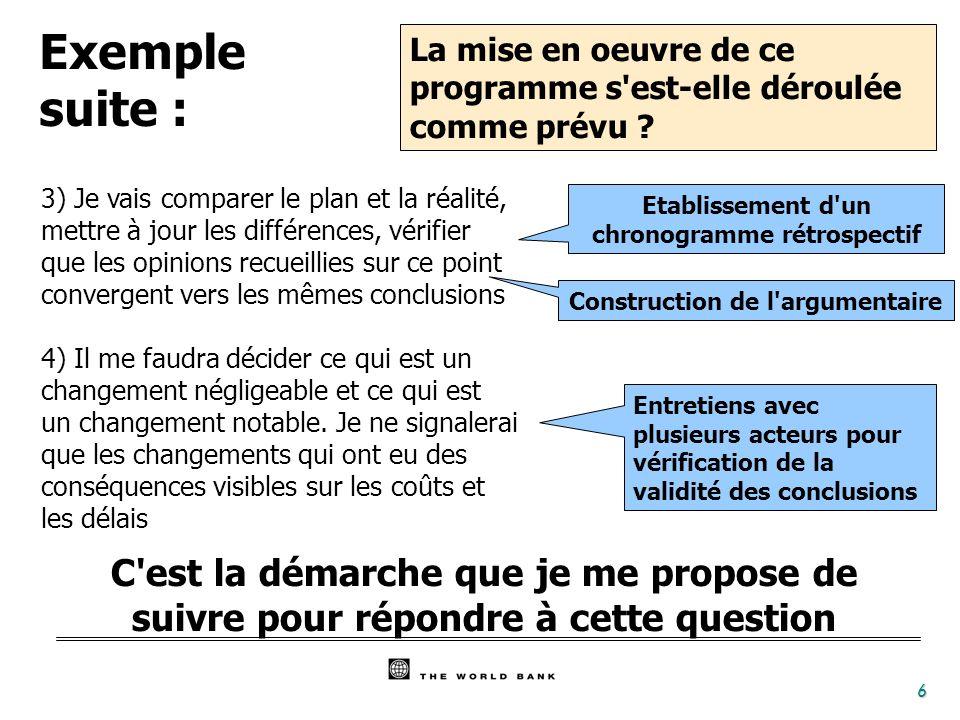 6 3) Je vais comparer le plan et la réalité, mettre à jour les différences, vérifier que les opinions recueillies sur ce point convergent vers les mêm