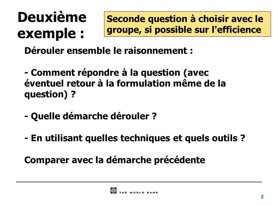 8 Seconde question à choisir avec le groupe, si possible sur l efficience Dérouler ensemble le raisonnement : - Comment répondre à la question (avec éventuel retour à la formulation même de la question) .